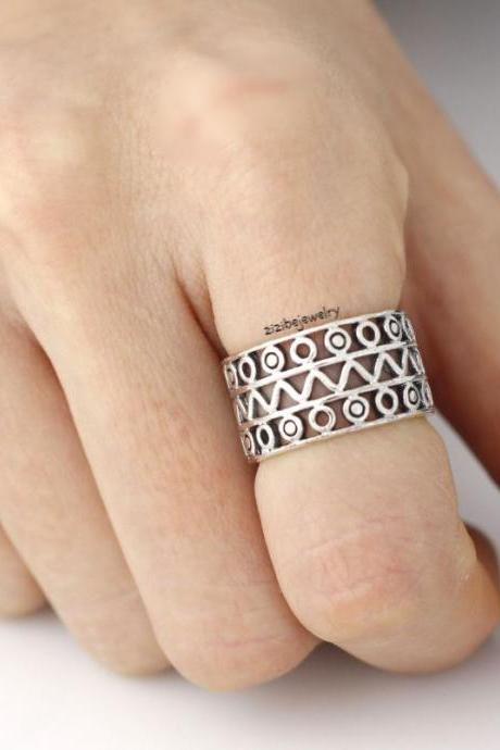925 Sterling Silver Geometric Thick Band Ring, R0167S