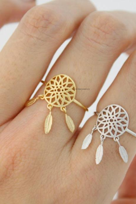 Dreamcatcher Ring Dream Catcher Boho with Feathers ring in 3 colors, R0574K