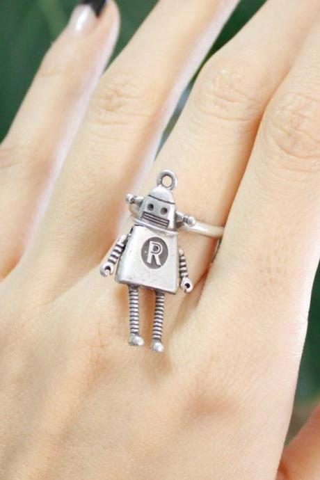 cute and unique Robot statement Ring in 2 olors, R0276S