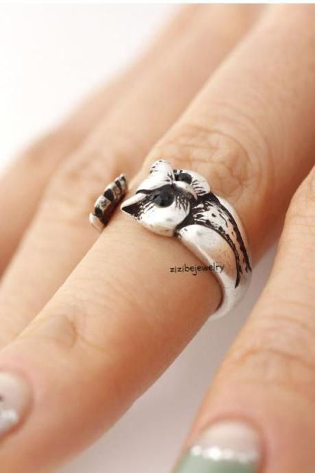 Cute owl Wrap Ring in burnished brass antique silver