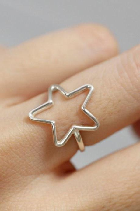 925 sterling silver Sideways Open Star Ring