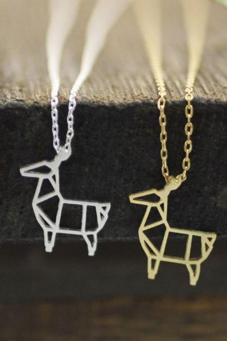 Cut-Out Goat pendant Necklace in silver / gold