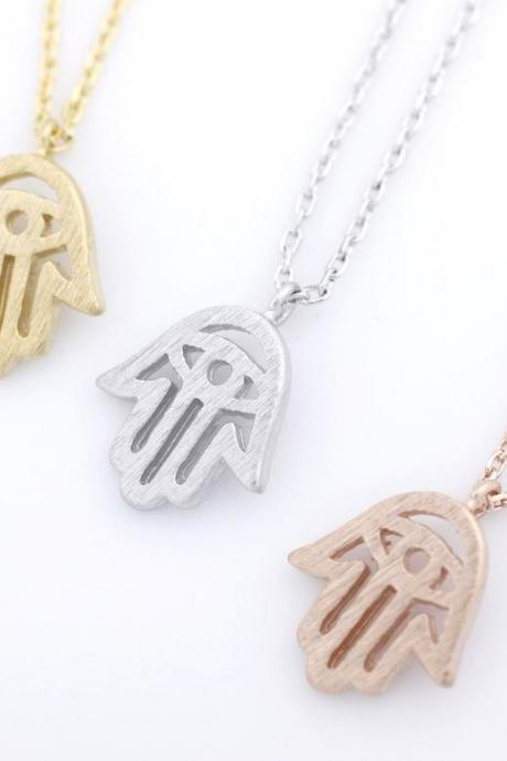 925 sterling silver Hamsa hand pendant necklace in 3 colors