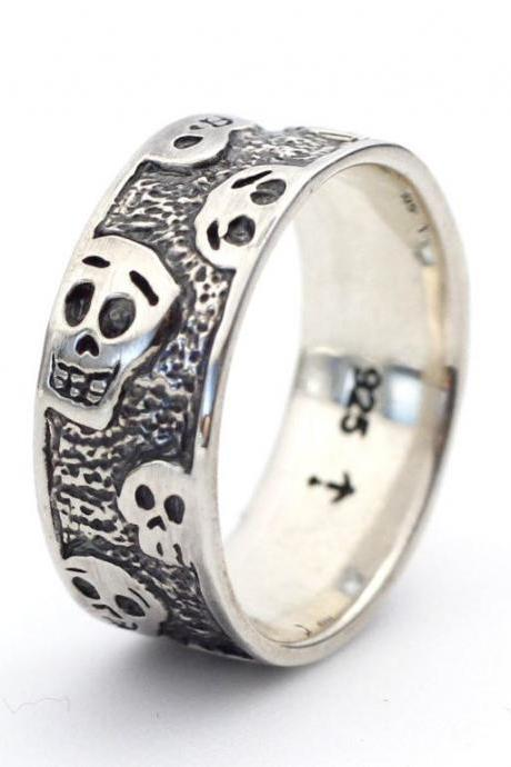 925 sterling silver cute skull band ring