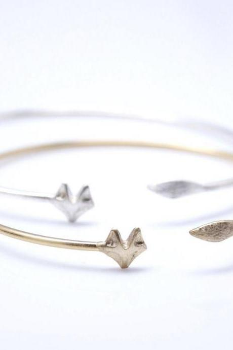 Fox Tail Adjustable Bangle Bracelet in gold /silver