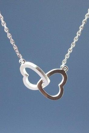 Infinity Hearts Necklace in Silver / Gold