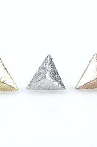 3D triangle Pyramid earrings in gold / silver / pink gold