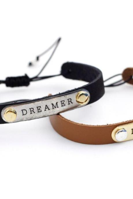 DREAMER Metal Tag Leather Bracelet in 2 colors, B0036G