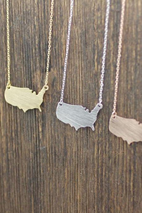 USA necklace in gold / silver / pink gold, N0083G