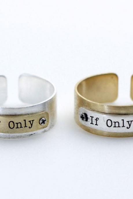 If Only Metal Tag Cuff Ring in Gold/ Silver