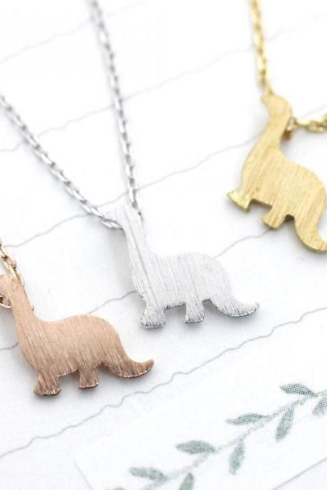 925 sterling silver Dino Dinosaur pendant necklace in Gold / Silver / Rose gold