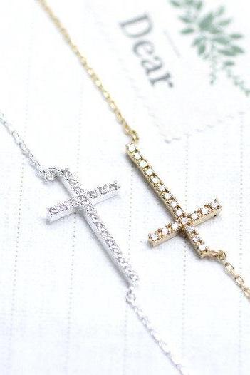Rhinestone Sideways Cross charm pendant necklace in Silver / Gold (925 sterling silver / plated over Brass)