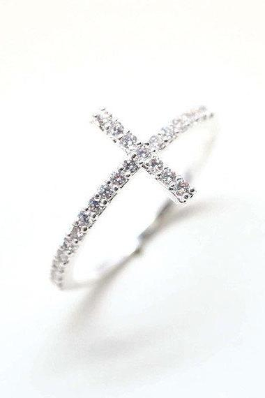 Sideways Cross detailed with CZ Ring in 92.5 Sterling Silver - Silver color