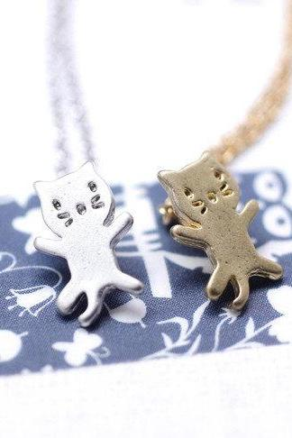 cute and unique tiny kitty cat pendant necklace( gold /silver)