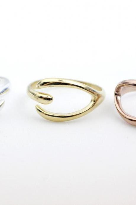 925 sterling silver Simple Wishbone adjustable ring in 3 colors