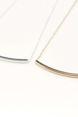 925 sterling silver Curved Long bar necklace in gold / silver