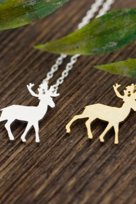 Elk Deer pendant necklace in 2 colors, N0250G