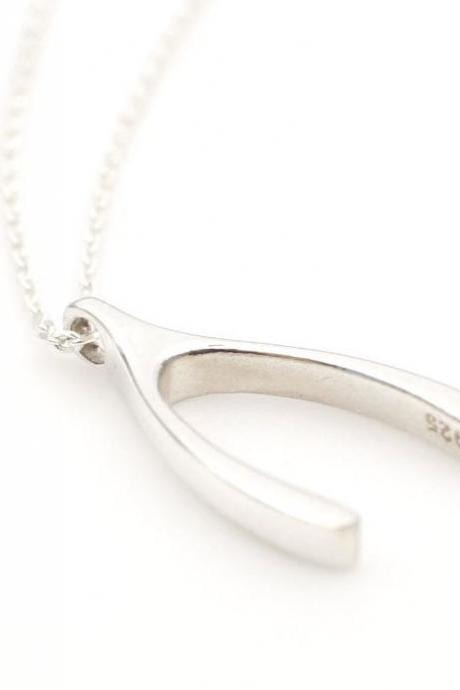 925 Sterling Silver Dainty Lucky Wishbone necklace