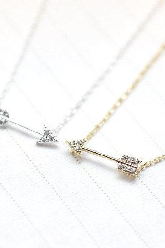 925 sterling silver Arrow with cubic zirconia detail pendant necklace in gold silver
