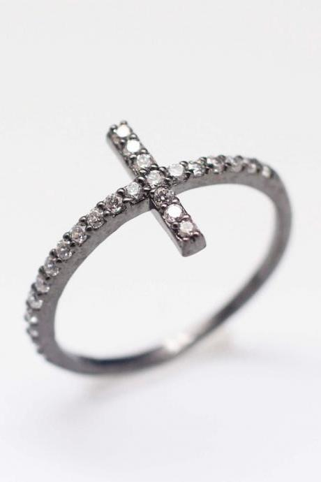 Sideways Cross detailed with CZ Ring in 92.5 Sterling Silver - Atique grey color