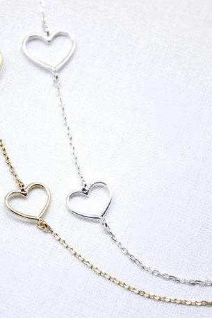 Gold or Silver 925 Sterling Double Heart Necklace