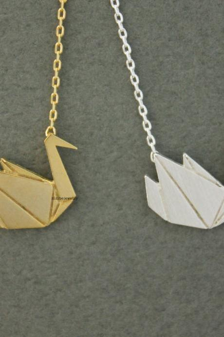Origami Crane, Swan Pendant Necklace in gold / silver, N0613G