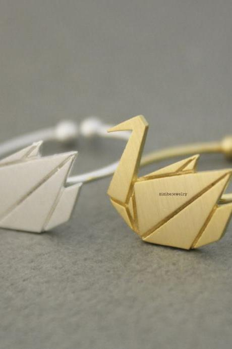 Origami Crane, Swan Adjustable Animal Ring - gold / silver, R0612G