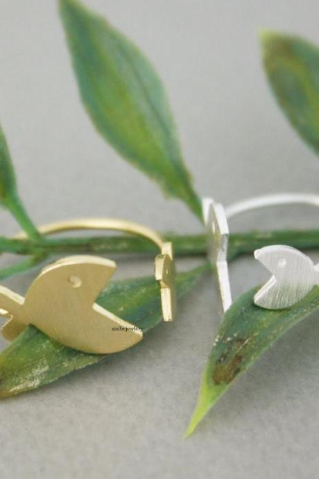 Cute Big Mouth Fish adjustable Ring in 2 colors, R0666G