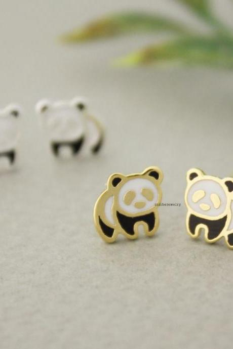cute Panda enamel stud earrings in 2 colors, E0643G
