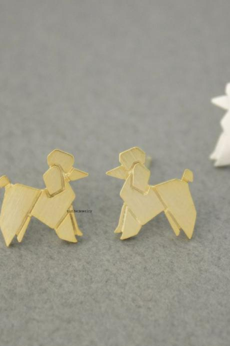 Origami Lovely Balloon Poodle Dog Stud Earrings in 2 colors, E0587G