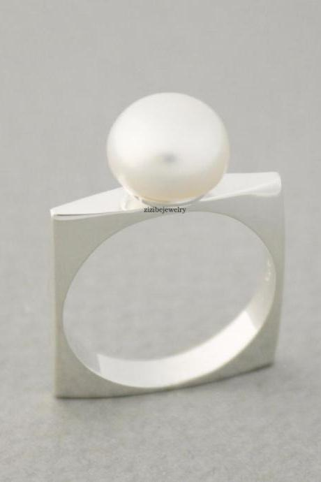 925 Sterling Silver Simple fresh water pearl square Ring ,R0679G