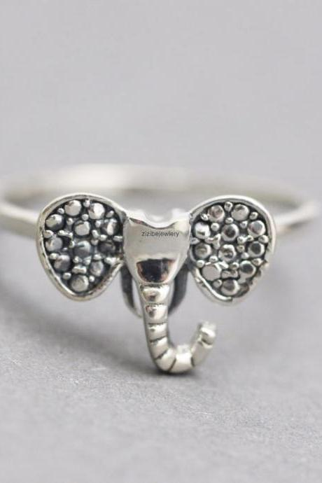 925 sterling silver Elephant head with Big Ears Ring detailed with Marcasite, R0739S