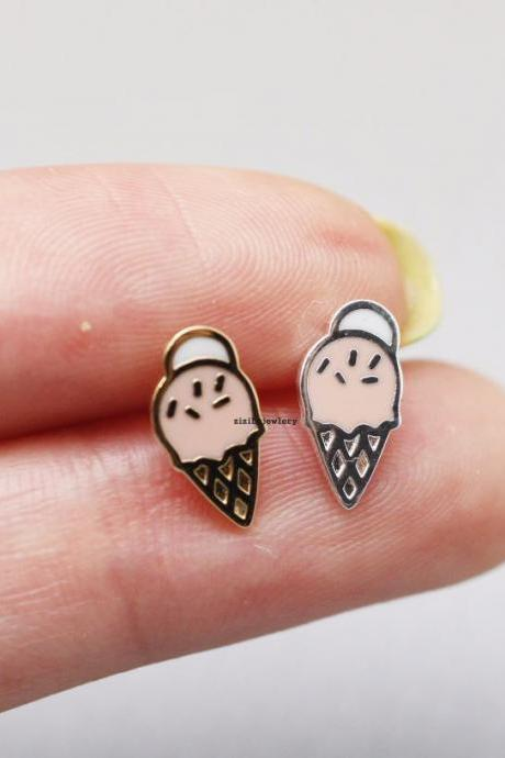 Sweet soft serve icecream / ice cream stud Earrings in 2 colors, E0761G