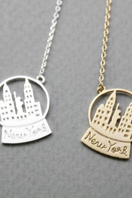 Snow Globe New York Necklace,New York Necklace, NY Necklace,Snow Globe Necklace,N0917G