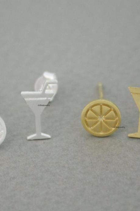 Cocktail Glass and Lemon stud Earrings in 2 colors, E0686G