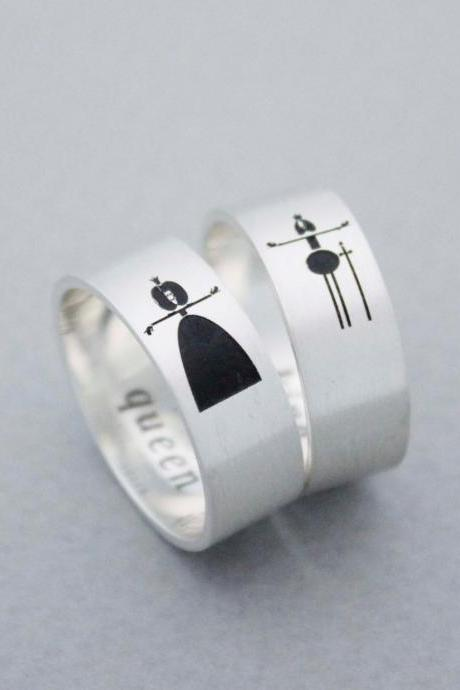 925 sterling silver Vertical Queen and King Ring ,Couple Rings,Custom Personalized Initial Ring (up to 9 characters), R1010S