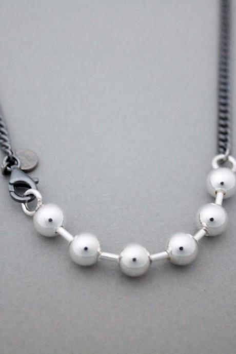 925 Sterling Silver Ball beads Two Tone Necklace, N0999S