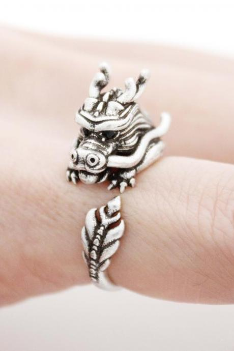 Cute Dragon ring , animal wrap ring ,R1016S