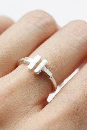 925 Sterling Silver Open T ring, Double bar ring, T ring ,R0797S