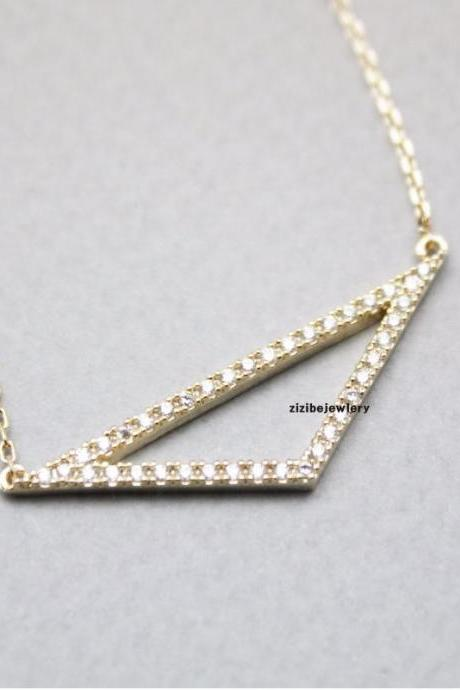 Open Trianlge Pendant, Isosceles Triangle Necklace ,Cubic Triangle Necklace in 3 colors, N0754S