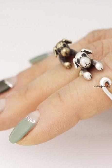 Cute Puppy dog Wrap Ring in 2 colors