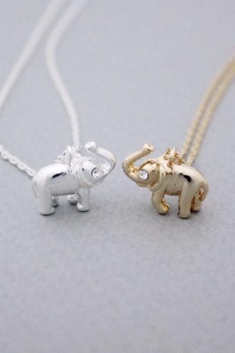Tiny elephant Pendant Necklace detailed with CZ silver/ gold, N1023G