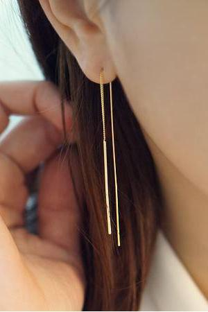 Long Bar Ear Threader, Earrings, Jewelry