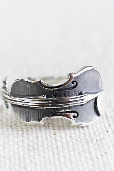 925 Sterling Silver Sideways Violin Ring