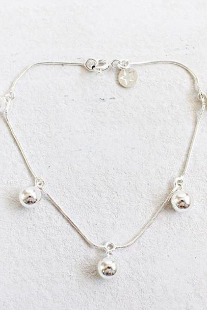 925 Sterling Silver Drop Ball beads cahem bracelet, B1077S
