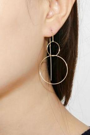 Long Circle Ear Threader ,Connected circle Pull Through Earrings. bibble Earrings ,long post earrings, Long chain earrings,E1116S