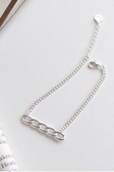 925 Sterling Silver Chain Bar charm bracelet