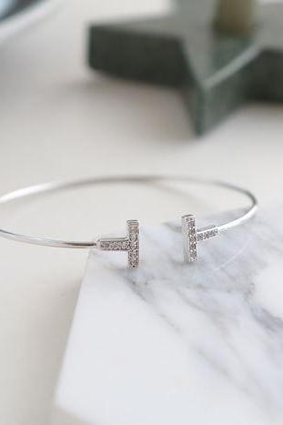 925 sterling silver Cubic Double Open Bar Bangle Bracelet ,Cubic T bar Bangle, Open Bar Bangle, B1120S