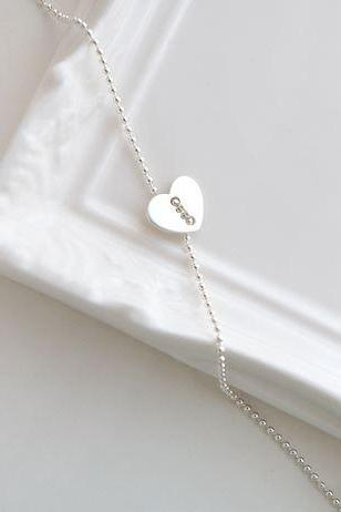 925 Sterling Silver Heart button necklace