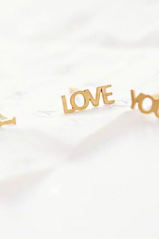 925 sterling silver I LOVE YOU stud Earrings ,Letter Earrings